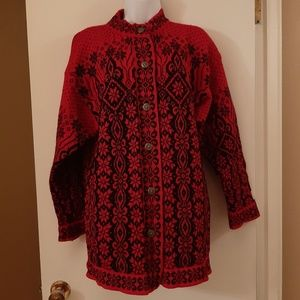 Dale of Norway red snowflake sweater cardigan